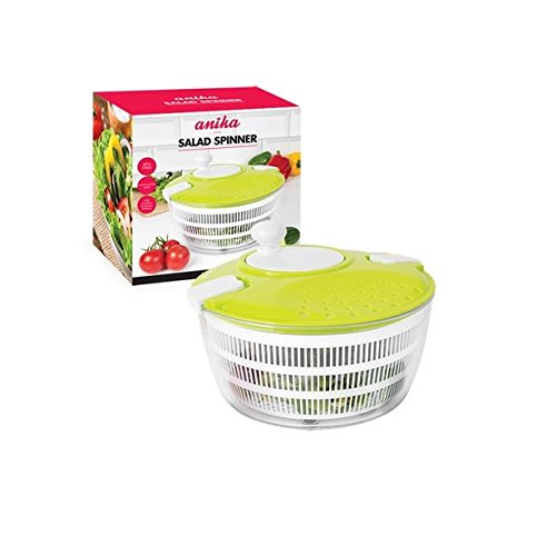 Invero® Quality Large Salad Spinner - Easily Rinse Spin and Dry Salads or Vegetables - Ideal Gadget for all Kitchen Lovers
