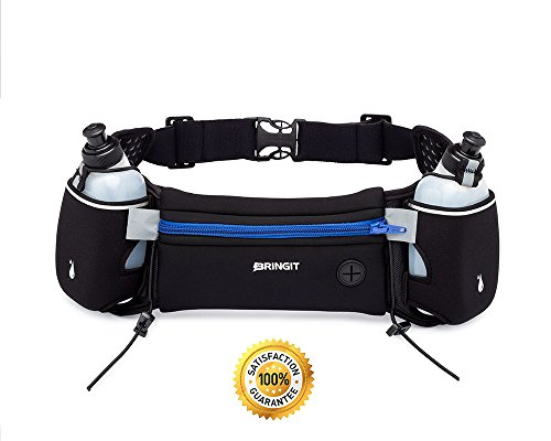 Hydration Belts For Runners - Running Hydration Belt with Water Bottles (2x BPA Free 10oz), Fuel Belt Fits Iphone 6s Plus for Running, Race, Marathon, Hiking, Adjustable Waist Hydration Pack, Men & Women Runners Belt