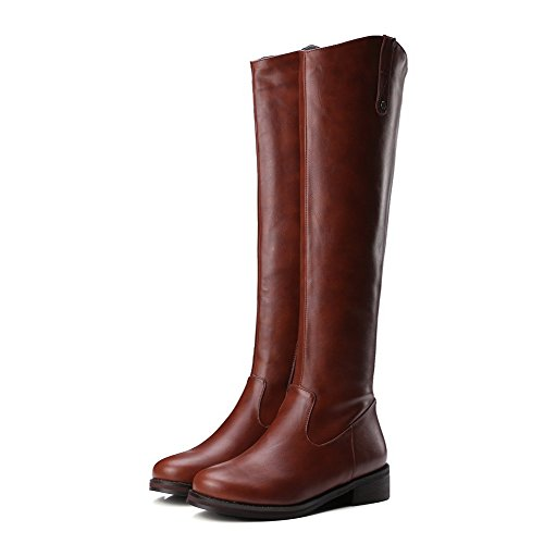 AllhqFashion Womens Zipper Round Closed Toe Low-Heels PU High-top Boots Brown JaQwuTgcm