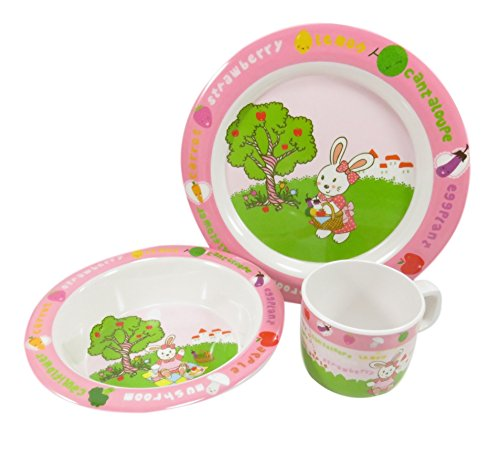 Adorable Kids Dinnerware Melamine Rabbit Cup Bowl Plate Set Pink Green White (3 Piece)