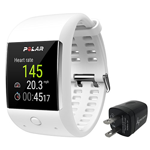 Polar M600 Sports Smart Watch With Built-In GPS and Heart Rate Monitor and Wearable4U Wall Chargind Adapter Bundle (White) by Wearable4u