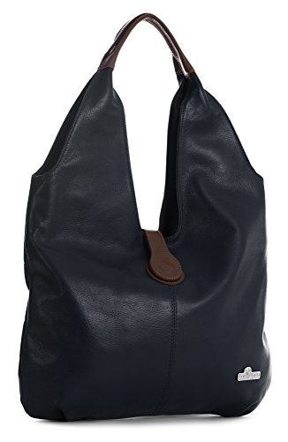 LiaTalia Genuine Italian Soft Leather Large Hobo Shopper Shoulder bag with Protective Dust Bag - Zoe [Deep Navy - Brown Trim] by LiaTalia Vera Pelle Made In Italy