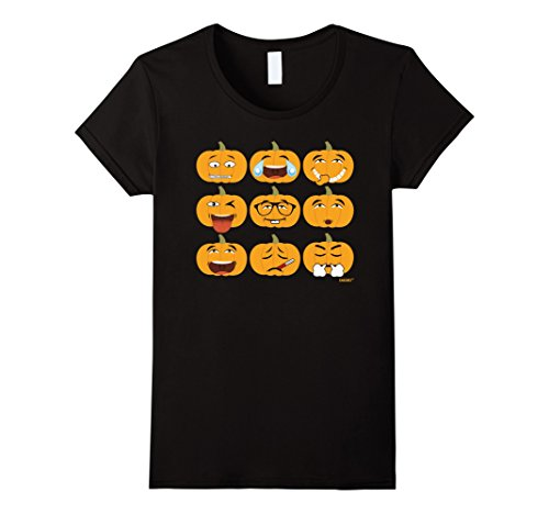 Women's Pumpkin Halloween Funny Cute Costume Asian Emoji Face Shirt Medium Black (Funny Cute Women Halloween Costumes)