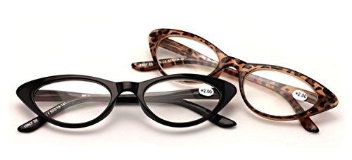 V.W.E. 2 Pairs Deluxe Female Cateye Vintage Reading Glasses Women Readers (1 Black 1 Tortoise, - Cat Mens Glasses Eye