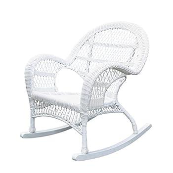 Pemberly Row Rocker Wicker Chair in White