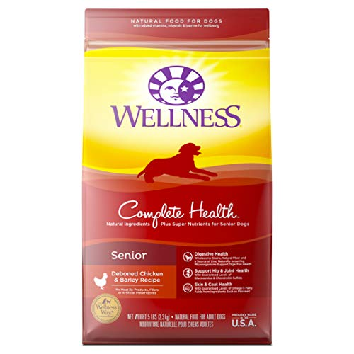 Wellness Complete Health Natural Dry Senior Dog Food, Chicken & Barley, 5-Pound Bag