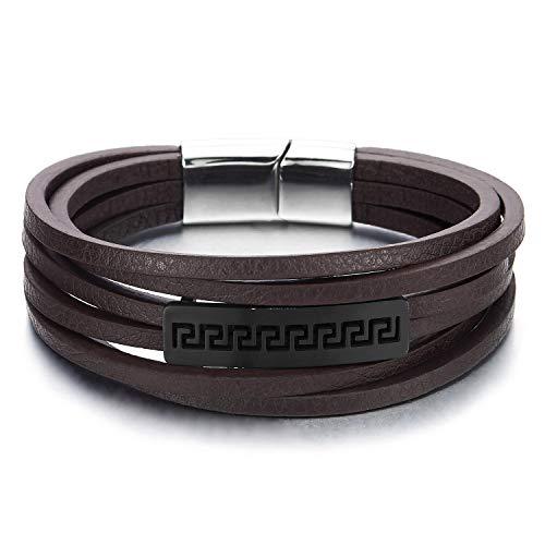 COOLSTEELANDBEYOND Mens Women Multi-Strand Dark Brown Leather Steel Greek Key ID Identification Bracelet Wrap Wristband - Greek Key Mens Bracelet