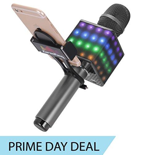 KaraoKing Wireless Bluetooth Karaoke Microphone - Portable KTV Machine with Speaker, LED Lights and Bonus Phone...