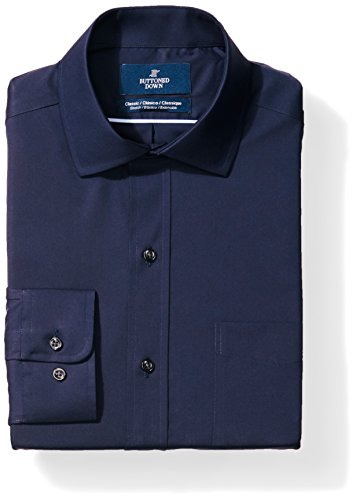 BUTTONED DOWN Men's Classic Fit Stretch Poplin Non-Iron Dress Shirt, Navy, 18