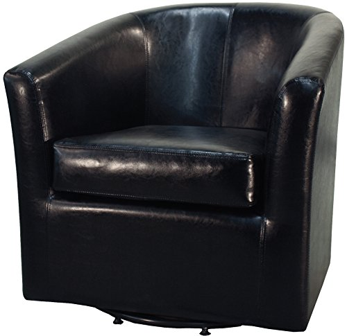 New Pacific Direct Hayden Swivel Bonded Leather Tub Chair,Black (Black Club Swivel Chair)