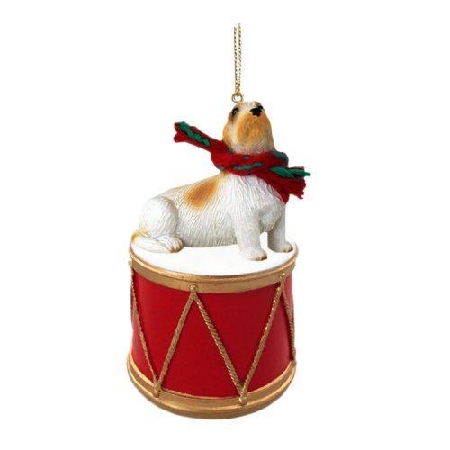 Petit Basset Griffon Vendeen Drum Christmas Ornament w. Gold String & Scarf (Basset Griffon Vendeen Figurine)
