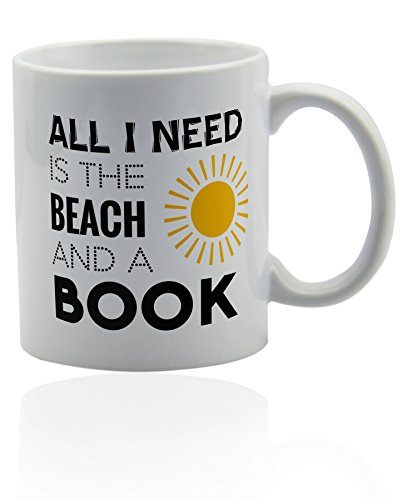 Beach white ceramic mug - for coffee or tea 11 oz. Gift cup. - Beach Theme Coffee