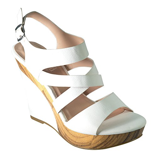 Angelina Womens Vegan Leather Wood PU Wedge Sandal  M84CCZHC2