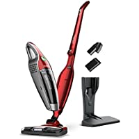 SUAOKI 2-in-1Cordless Vacuum Cleaner Upright & Hand-held with 4 LED Corner Lighting; Rechargeable 2150mAh Li-ion Battery and Charging Base for Car Home Room and More (Black & Red)