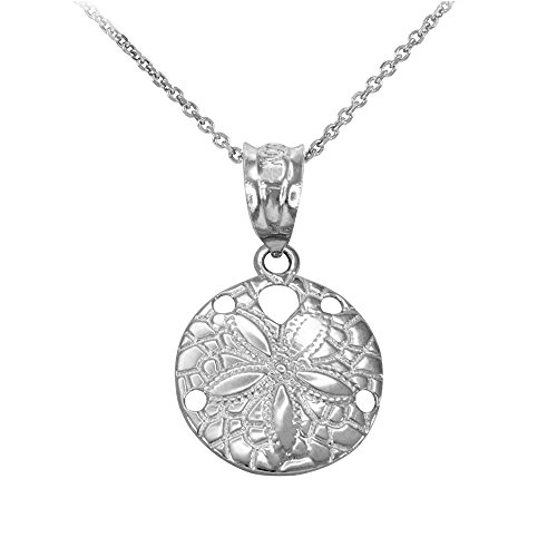 Dainty 10k White Gold Sea Star Charm Sand Dollar Round Pendant Necklace, 18