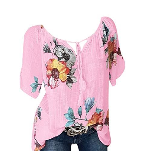 Peigen Women Casual Floral Printed Button T-Shirt Chiffon Irregular Hem Plus Size ()
