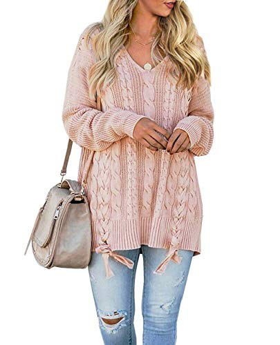 (Womens Pullover Sweaters Plus Size Cable Knit V Neck Lace Up Long Sleeve Fall Jumper Tops Pink)