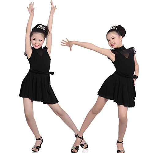Gydoxy(TM) Girls Modern Samba Ballroom Latin Dance Dress Sexy Mesh Shoulder Leotard & Wrap Pleated Skirt Children Rumba Dance Costumes by Gydoxy