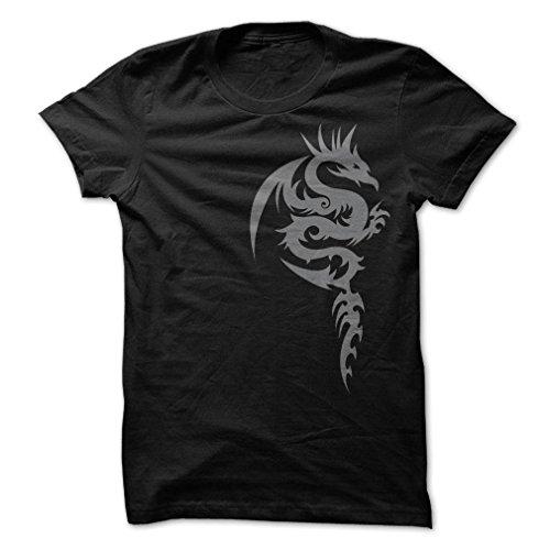 Sun Frog Shirts Men's Tribal Dragon Design T-Shirt 3XL - Design T-shirt Black Frog