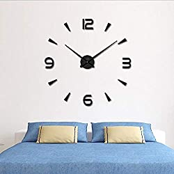 YmissL DIY Wall Clock,3D Battery Operated Clock with with Mirror Numbers Stickers, Silent Non Ticking- 36 Inch(1M Wall Watches for Home, Living Room Decor Gift-Black