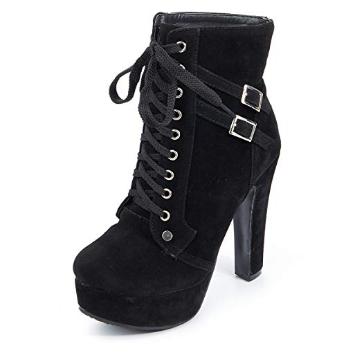 Susanny Women Autumn Round Toe Lace Up Ankle Buckle Chunky High Heel Platform Knight Suede Black Martin Boots 8.5 B (M) ()