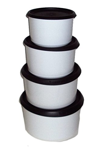 (Tupperware Set of 4 Topper Canisters with Black Seals)