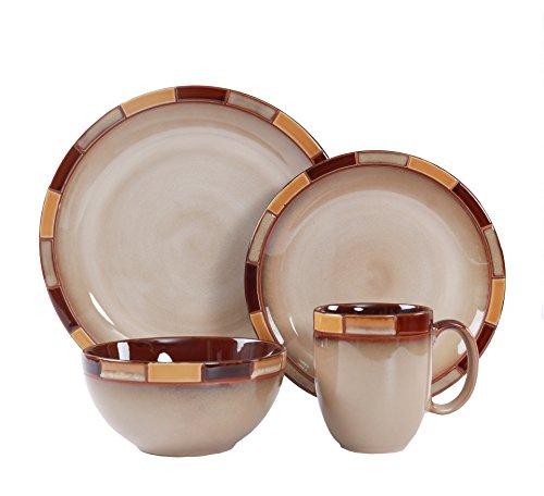 WHITEPEONY Mosaic Cream 16-Piece Stoneware Dinnerware Set, Service For 4