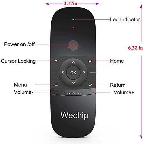 Wechip 2.4G Smart TV Wireless Keyboard Fly Mouse W1 Multifunctional Remote Control for Android TV Box/PC/Smart TV/Projector/HTPC/All-in-one PC/TV (Black) by WeChip (Image #5)
