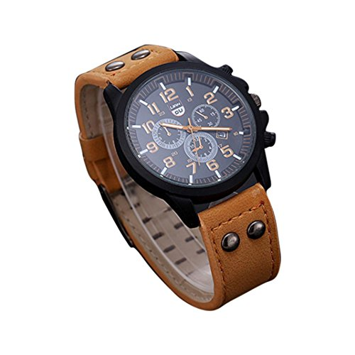 Dreaman Mens Waterproof Date Leather Strap Sport Quartz Army Watch Brown (Current Watch For Men)