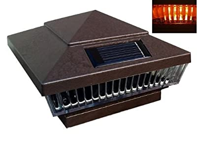 """6-Pack Solar Hammered Brown Finish Post Deck Fence Cap Lights for 5"""" X 5"""" Vinyl/PVC or Wood Posts With Amber LEDs and Vertical-lined Clear Lens"""