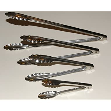 Complete Different Sized Utility Spring Tongs Including 16  Extra Heavy-Duty BBQ Tongs, 12  Salad, 9 and 7  Tongs, Set of 4