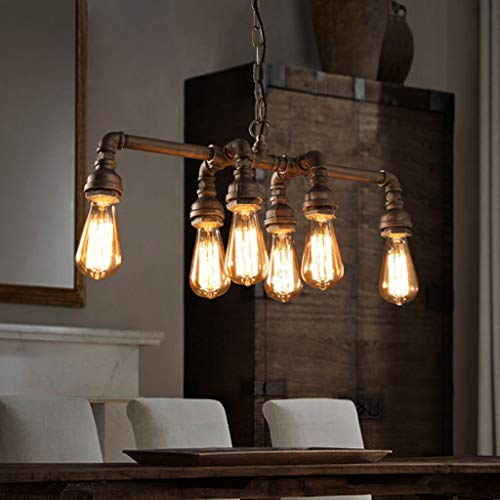 Pendant Lights Industrial Pipe Chandeliers with 6 Lights,Max 60W Metal Fixture,Dinning Table,Bar,Foyer E27 Chandelier Lighting Indoor Hanging Lights