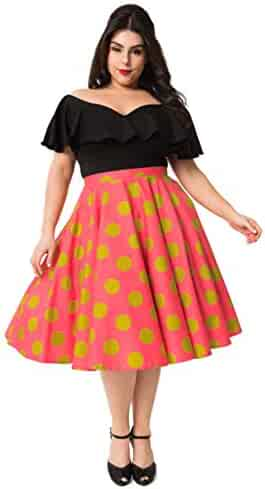 dbb4b96a0f1 Plus Size Vintage Style Hot Pink   Chartreuse Green Polka Dot Cotton Swing  Skirt