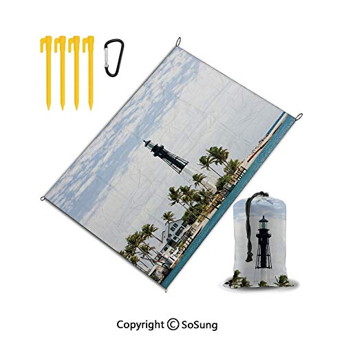 - Beach Blanket,Sand Free Picnic Blanket Water Resistant,Pocket Outdoor Blanket Compact Beach Mat with 4 Stakes for Travel,Camping,Hiking,RV,United States,Hillsboro Lighthouse Pompano Beach Florida Atla