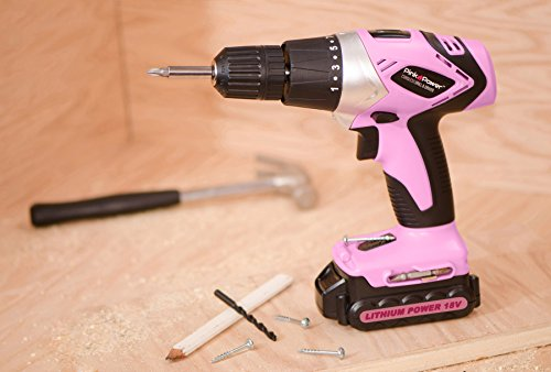 Pink Power PP181LI 18 Volt Lithium-Ion Cordless Electric Drill Driver Kit for Women- Tool Case, Drill Set, Battery & Charger by Pink Power (Image #4)