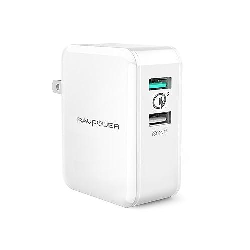 【Quick Charge 3.0】RAVPower USB 急速充電器 [30W/2ポート/USB充電/急速] Galaxy S8/S8+/S7 Edge/Xperia/Nexus 6/iPhone/iPad 等対応 RP-PC006 ホワイト