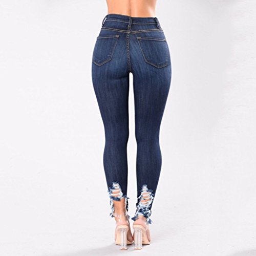 Pantaloni Blue Vita Lifting Boyfriend For Alta Distressed Butt Jeans Skinny Strappati Zhhlaixing Hole Donna 6xR1aq