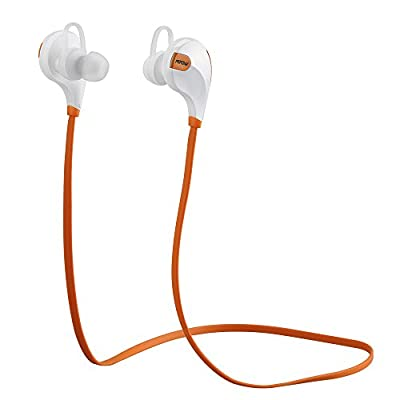 Mpow® Swift Bluetooth 4.0 Wireless Stereo Sweatproof Jogger, Running, Sport Headphones Earbuds Earphone with AptX,Mic Hands-free Calling for iphone 6, 6 Plus, 5 5c 5s 4s ipad, LG G2, Samsung Galaxy S5 S4 S3 Note 3 and Other Android Cell Phones-Orange