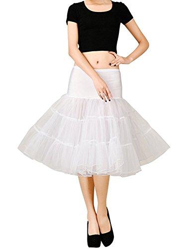 Sisjuly Women's 50s Petticoat Skirts Tutu Crinoline Underskirt L White