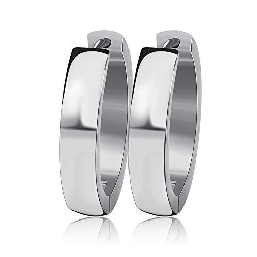 (INRENG Stainless Steel Small Wide Huggie Hoop Earrings for Women Men Silver 4x20mm)