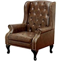 Daplyn Button Tufted, Nailhead Trim Wingback Chair in Rustic Brown Leather