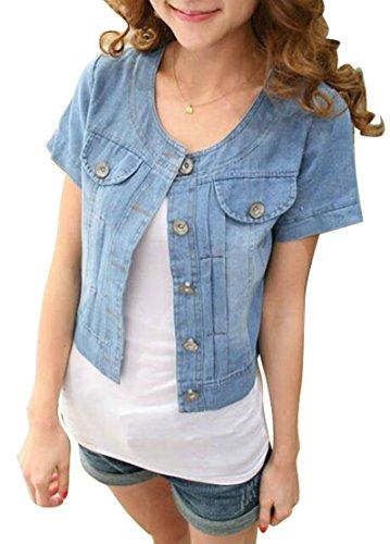 ARTFFEL-Women Sweet Lightweight Short Sleeve Washed Denim Jacket Coat Dark Blue ()