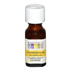 Aura Cacia Precious Essentials Sandalwood Blended with Jojoba Oil, 0.5 Fluid Ounce