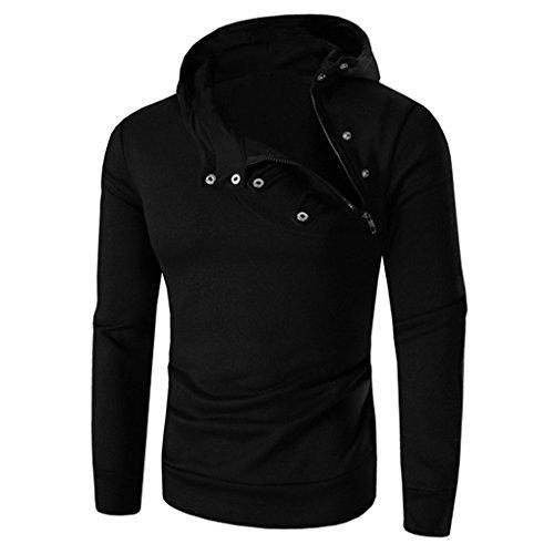 Mens Shirt,Haoricu Autumn Winter Men Retro Solid Long Sleeve Hoodie Sweatshirt Tops Jacket Coat With Zipper (XXXL, Black)