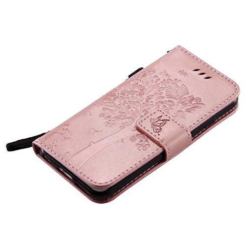 EKINHUI Case Cover Solid Color Premium PU-Leder-Etui Prägung Muster Flip-Standplatz Fall Deckung mit Karte und Bargeld Schlitze für iPhone 6 6s 4,7 Zoll ( Color : Rosegold )