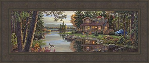 Peace Like A River Panoramic by Kim Norlien 18x42 Log Cabin Adirondack Chairs Vintage Truck Duck Dog Boat Dock Framed Art Print Picture