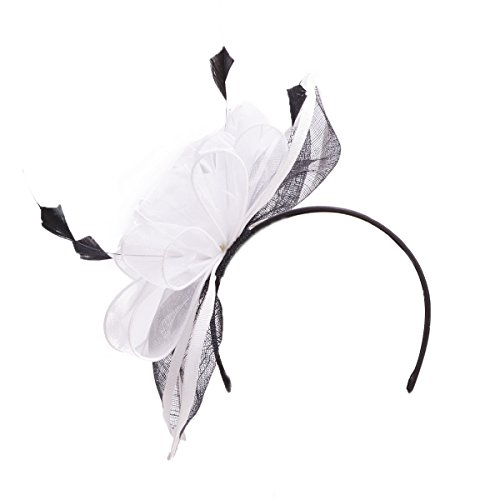 Lawliet Womens Sinamay Cocktail Fascinator Feather Flower Clip T215