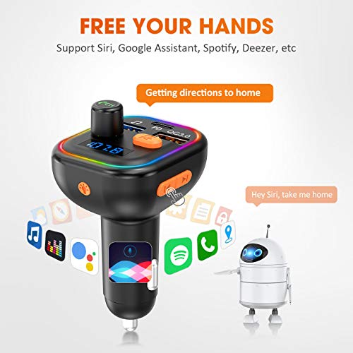 VicTsing Bluetooth FM Transmitter for Car, 41W PD & QC3.0, Car Radio Audio Adapter, RGB Backlight/Deep Bass/ BT5.0, U Disk/TF Card Music Play, Hands-free Support Siri Google-Assistant