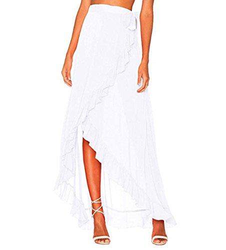 Femmes Jupe irrgulire  Volants en Maille envelopp en Mousseline de Soie Cravate de Fixation Voir  Travers la Plage Blanc