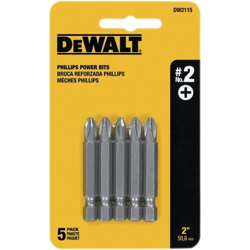 DEWALT DW2115 #2 Phillips 2-Inch Power Bit (5-Pack)